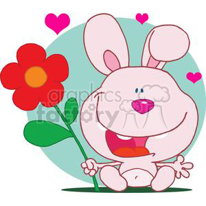 Bunny holds flower on front of a light green background clipart. Royalty-free image # 378085