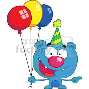 Happy Blue Bear in party hat with balloons clipart. Commercial use image # 378095