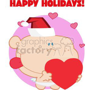 Romantic Cupid with Heart with Happy Holiday above  clipart. Royalty-free image # 378100