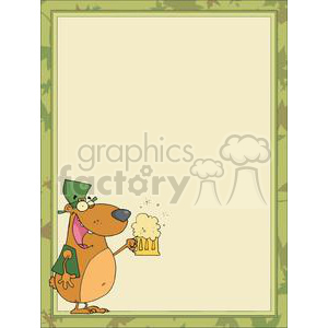 A Bear Drinking Ale for St. Patrick's Day in a Green Boarder clipart. Commercial use image # 378105