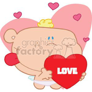 Romantic Cupid With Valentine Heart and Tounge Sticking Out clipart. Royalty-free image # 378110