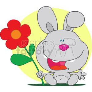 Happy Pink Nosed Bunny Holds Flower In Hand clipart. Royalty-free image # 378115