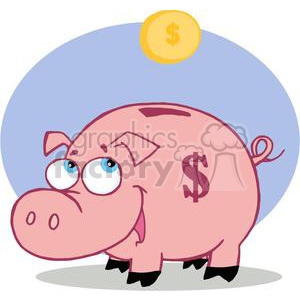 Pink piggy bank with dollar sign on the body and a coin being droped in to it.  clipart. Commercial use image # 378125