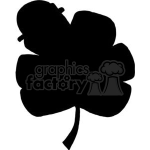 Silhouette Cheerful Clover Wearing A Hat clipart. Royalty-free image # 378130