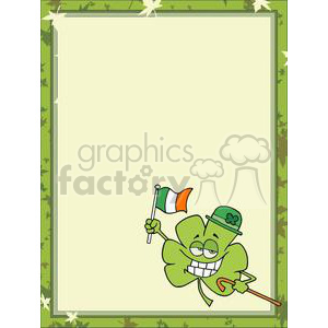 A dancing shamrock in a hat with and irish flag in a frame clipart. Royalty-free image # 378145