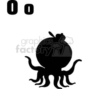 O is for Octopus silhouette clipart. Commercial use image # 378160