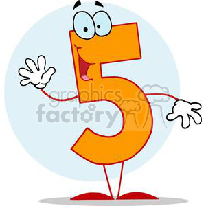 Cartoon Happy Number 5 Holding up Five Fingers