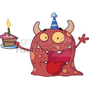 A Crazy Red Monster Celebrates Birthday clipart. Commercial use image # 378185