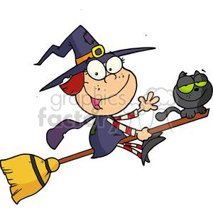 Halloween Little Witch with her Black Cat Flying on a Broom
