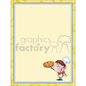 A Boy Chef Holding a Pepperoni Pizza in Frame clipart. Commercial use image # 378195