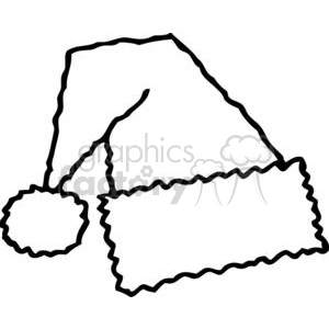 black and white Santa hat clipart. Commercial use image # 378205