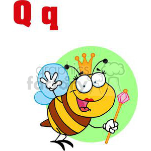 Alphabet Letter Q as in Queen Bee clipart. Royalty-free image # 378215