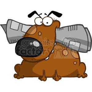 Dog Holds Newspaper in Mouth clipart. Royalty-free image # 378225