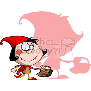 Little Red Riding Hood With A Basket Of Goodies For Her Grandma clipart. Royalty-free image # 378235