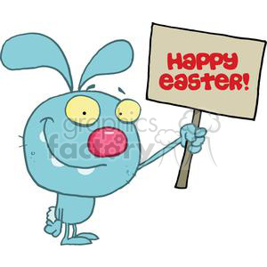Rascally Rabbit Holds A Happy Easter Sign clipart. Commercial use image # 378240