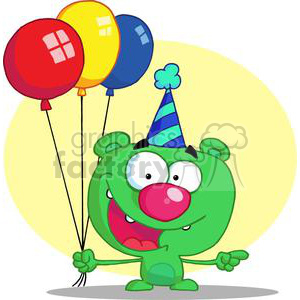 Happy Bear in party hat with balloons clipart. Commercial use image # 378245