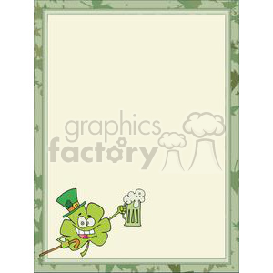 shamrock toasting with green ale in a frames clipart. Commercial use image # 378250