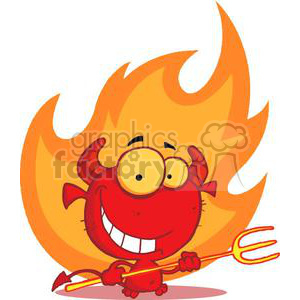 Happy little devil holding a pitchforkin front of a flame