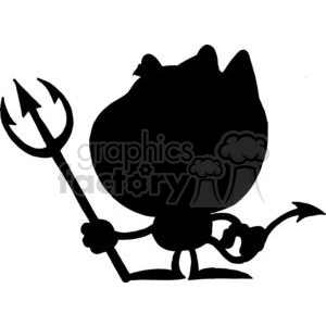 Cartoon Silhouette Little Devil with Pitchfork