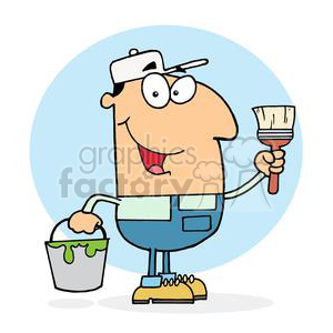a painterman in Bib overhalls and a white hat clipart. Royalty-free image # 378275