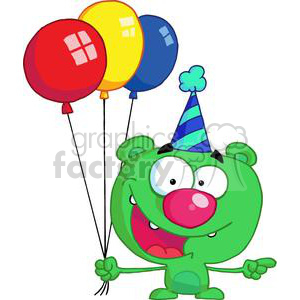 happywhacky green bear in party hat with balloons