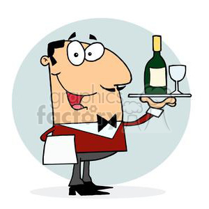 Itlian waiter serving wine with a glass clipart. Royalty-free image # 378315