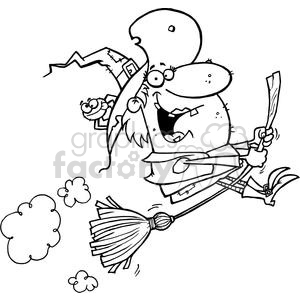 Witch rides broom clipart. Commercial use image # 378325