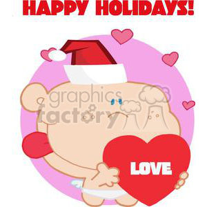 Happy Holidays Romantic Cupid with Heart and a Santa Hat clipart. Royalty-free image # 378340