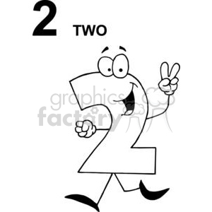 Happy Numbers 2 walking and holding up Two Fingers clipart. Royalty-free image # 378345