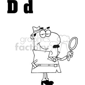 Detective with a Magnify Glass  clipart. Commercial use image # 378350