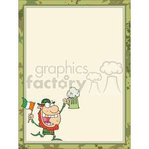 A Crazy Irish man with ale and a Ireland Flag in a Frame clipart. Royalty-free image # 378360