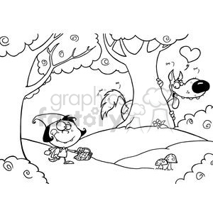 Black and White Scene Of Little Red Riding Hood clipart. Royalty-free image # 378375