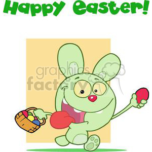 Green Rabbit Running And Holding Up An Red Egg With Happy Easter! clipart. Royalty-free image # 378380