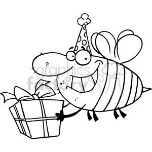 Happy Bee Carries Gift clipart. Royalty-free image # 378390