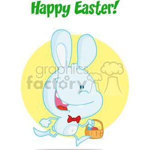Happy Bunny wearing a Red Bow Tie Running with Easter Eggs In a Basket In Front of a Yellow Bacground clipart. Commercial use image # 378400