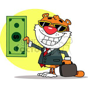 A Happy Tiger Holds Dollar and Business Briefcase clipart. Royalty-free image # 378405