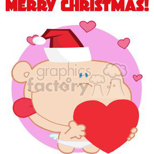 Romantic Cupid with Heart and Text Merry Christmas! clipart. Commercial use image # 378410