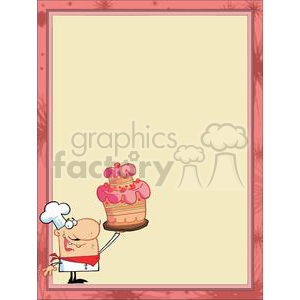 A Pastry Chef with a Cake in a Pink Borders clipart. Royalty-free image # 378415