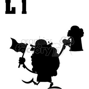 Leprechaun Silhouette on a White Background clipart. Commercial use image # 378420
