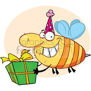 a gift giving bee wearing a party hat