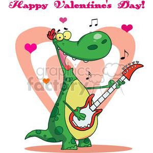 Dinosaur playing a love song for Valentines Day