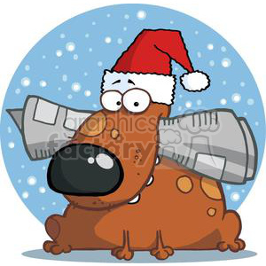 Dog Holds Newspaper in Mouth with Santa Hat clipart. Royalty-free image # 378455