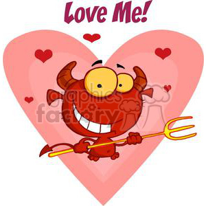 little devil saying Love Me! clipart. Royalty-free image # 378460