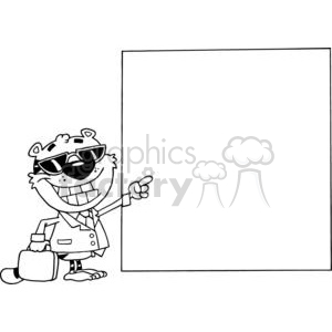 Happy Tiger Presenting A Blank Sign  clipart. Royalty-free image # 378485