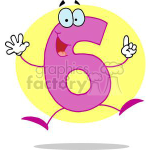 Cheerful Number 6 clipart. Commercial use image # 378490