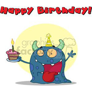 Happy Blue Horned Monster Celebrates Birthday With Cake and text Happy Birthday!
