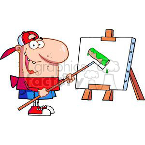 Artist In A Red Shirt and Blue Shorts Uses Roller on Canvas clipart. Commercial use image # 378540