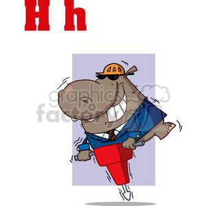 Hippo on a Jackhammer with a Purple Background clipart. Royalty-free image # 378555