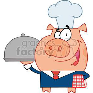 Waiter Pig In A Chefs Hat and Blue Suite with a Red Plade Towel on Arm