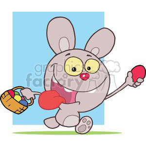 Excited Easter Rabbit Running And Holding Up An Egg And Carrying A Basket clipart. Royalty-free image # 378565